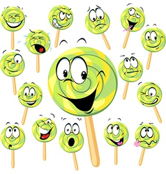 Lollipop cartoon with many expressions isolated on vector