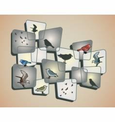 birds on beige background vector image