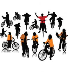 bicycles silhouettes vector image