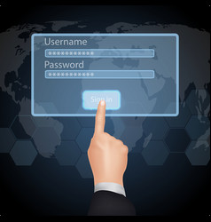 Hand choose enter password and username on virtual vector