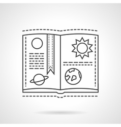 Planet book flat line design icon vector image