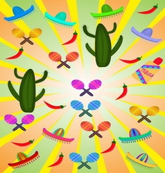 Set of mexican pictures vector