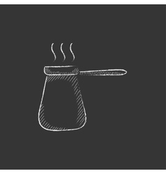 Coffee turk Drawn in chalk icon vector image