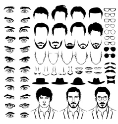 Constructor with men hipster haircuts glasses vector
