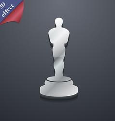 Oscar statuette icon symbol 3D style Trendy modern vector image