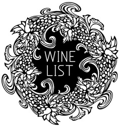 Black and white wine list design vector image
