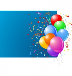 Blue card with colorful balloons vector