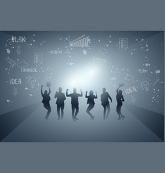 business people group cheerful silhouette raised vector image vector image
