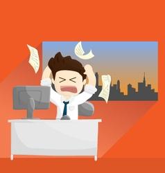 Busy angry work time salary man cartoon lifestyle vector