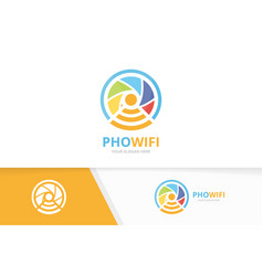 Camera shutter and wifi logo combination vector