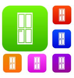 Closed wooden door set collection vector