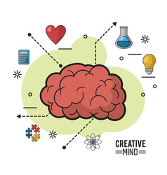 Colorful poster of creative mind with encephalitic vector
