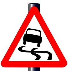 Danger skiddingtraffic sign vector