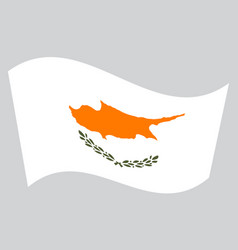 Flag of cyprus waving on gray background vector
