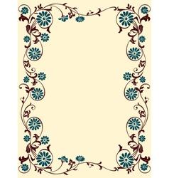 floral frame blue brown vector image vector image