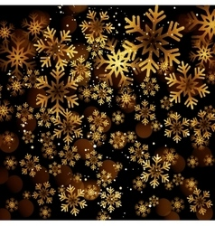 Golden snowflake on a dark background vector image