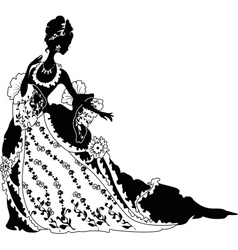 Graphic silhouette of a rococo woman vector image vector image