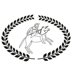 Hand drawn logo with the ancient greek warrior vector