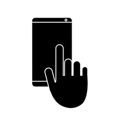 Hand touch mobile phone chat talk pictogram vector