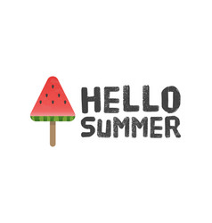 Hello summer letters with watermelon background vector