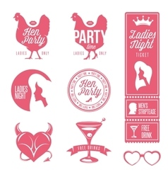 Hen party design elements set Ladies night stamps vector image vector image