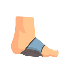 Injured foot bandaged with blue plaster cartoon vector