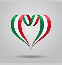 italian flag heart-shaped ribbon vector image