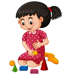 little girl playing blocks vector image vector image