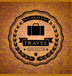 Logo with suitcase for summer travel holidays vector