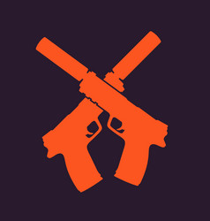 pistols silhouette handguns with silencers vector image vector image