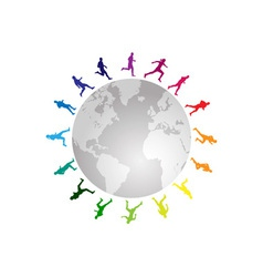 rainbow running around the world vector image vector image