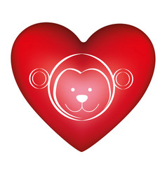 red heart shape with silhouette face cute monkey vector image