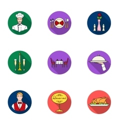 Restaurant set icons in flat style Big collection vector image vector image