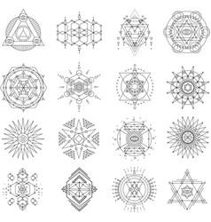 sacred geometry line art set vector image
