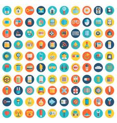 set of 100 social media icons flat design - part vector image vector image