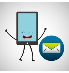 smartphone character and message email vector image