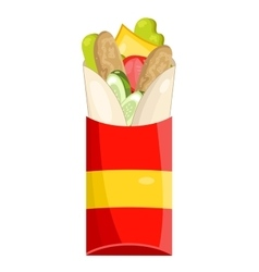 Tasty burrito on white background vector
