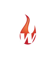W letter flame logo vector