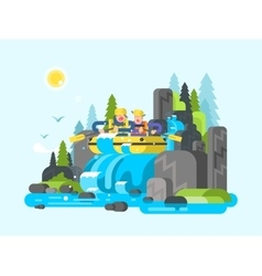 Water river slalom rafting vector image