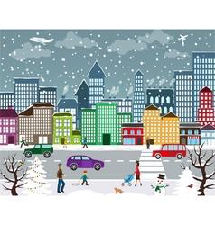 Winter urban landscape vector