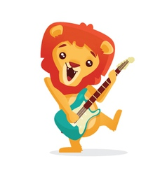 Musical animals lion guitar vector