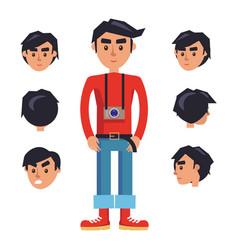 Young hipster man with camera cartoon character vector