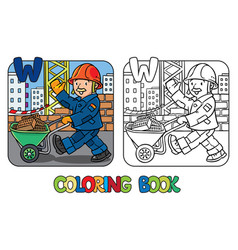 Construction worker coloring book alphabet w vector