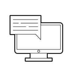 Computer desktop with speech bubble vector
