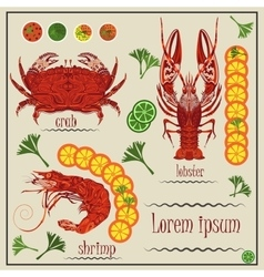 Menu cancer shrimp crab lemon vector