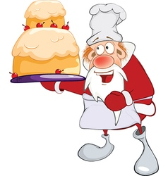 Cute santa claus gourmet chef vector
