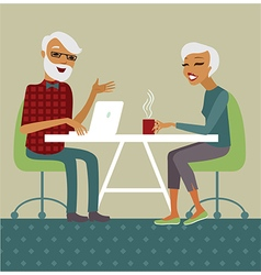 Trendy senior couple using laptop vector