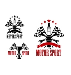Motor race icons with trophy and spark plug vector