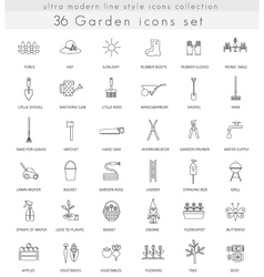 Garden ultra modern outline line icons for vector