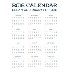 2016 calendar abstract week starts from sunday vector